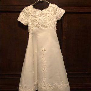 Ivory Satin Flower Girl Dress